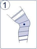 Тейпирование колена, техника тейпирования колена, Pharmacels, шаг 1