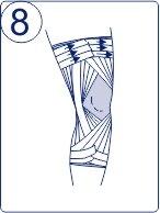 Тейпирование колена, техника тейпирования колена, Pharmacels, шаг 8