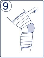 Тейпирование колена, техника тейпирования колена, Pharmacels, шаг 9