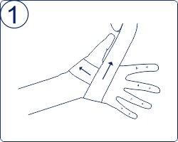 Техника тейпирования запястья, техника тейпирования запястья, Pharmacels, вариант 2 шаг 1